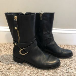 Marc Fisher Black Leather Mid Calf Boots